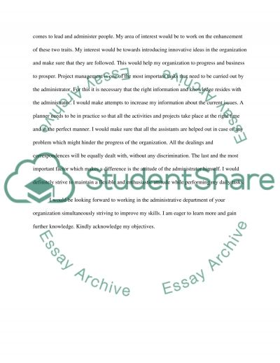 Professional Objectives and Interests essay example
