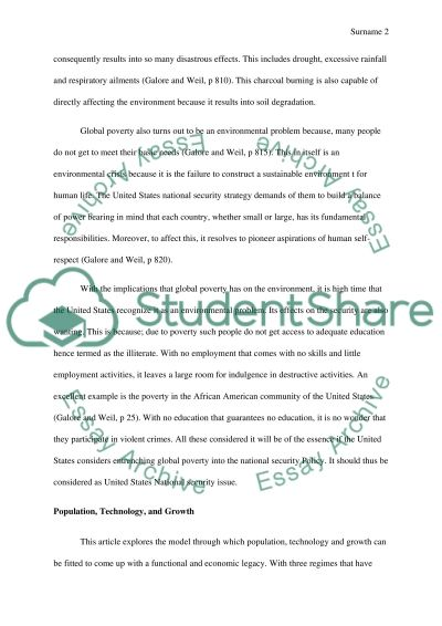 Should Global Poverty be a U.S National Security Issue essay example