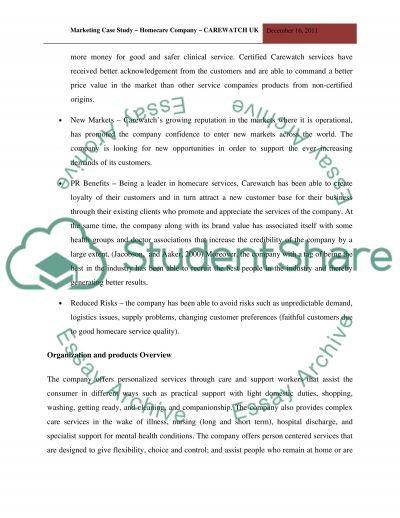 Marketing plan for homecare organization Carewatch UK essay example