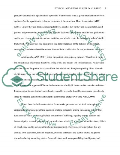 Ethical and Legal Issues in Nursing essay example