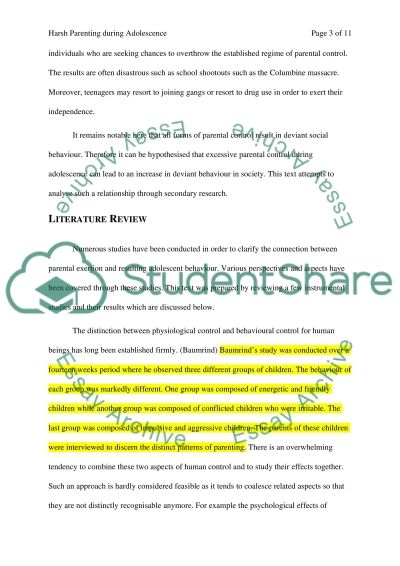 Harsh Parenting during Adolescence essay example