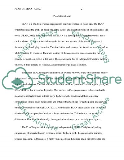 Plan International Essay