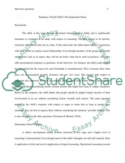 Interview Questions essay example