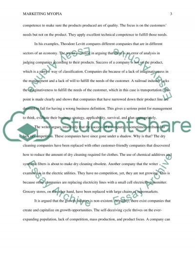 Marketing Myopia Essay example