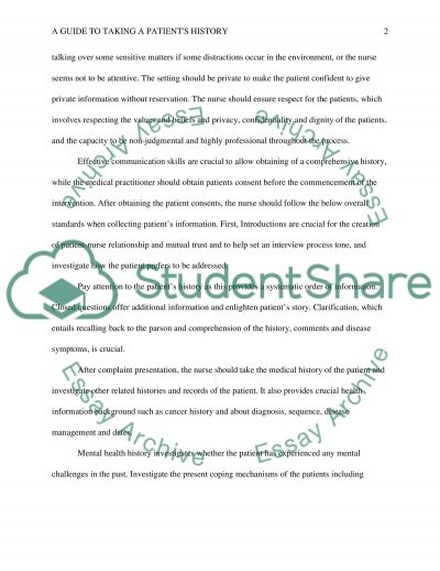A guide to taking a patients history essay example