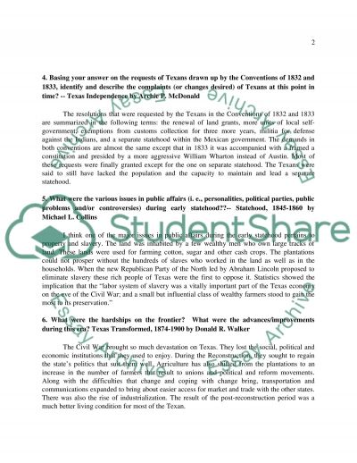 History Questions essay example