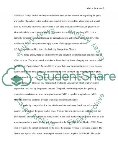 Market structure Essay example