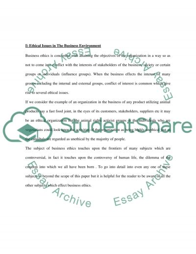 Ethics and Governance Essay essay example