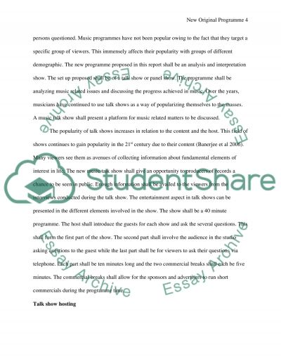 New Original Programme Coursework essay example