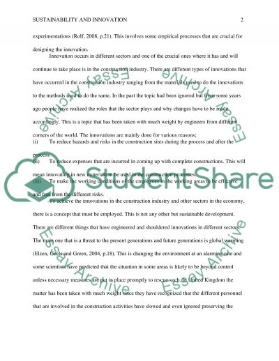 Sustainability and Innovation Paper essay example