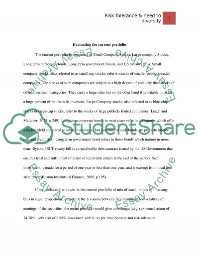 Risk Tolerance & need to diversify essay example