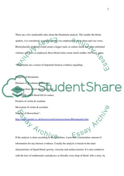 Blood Spatter Analysis Forensic Science Essay Example Topics And Well Written Essays 1500 Words
