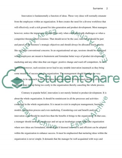 Marketing: Innovation Project Essay example