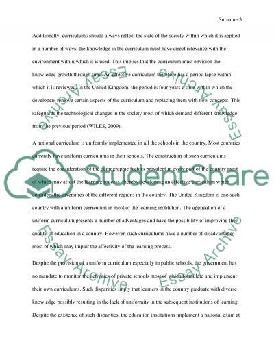 What are the advantages of having a National Curriculum in schools in England essay example