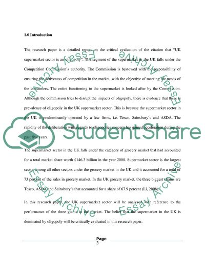 Uk Supermarket Sector Is An Oligopoly Essay Example  Topics And  Uk Supermarket Sector Is An Oligopoly Thesis Statements Examples For Argumentative Essays also Proposal For An Essay  Biology Help