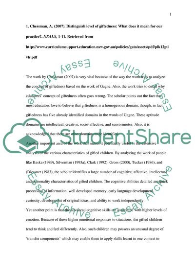Gifted Children: Annotated Bibliography