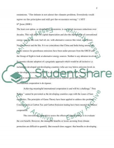 Environmental Economics Essay essay example
