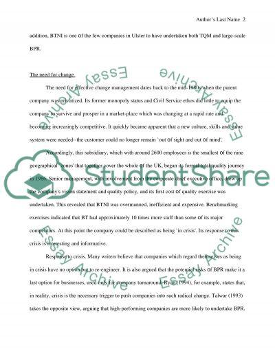 International Business - Change Management essay example