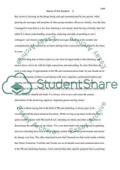 Internship: PR & Marketing departement essay example