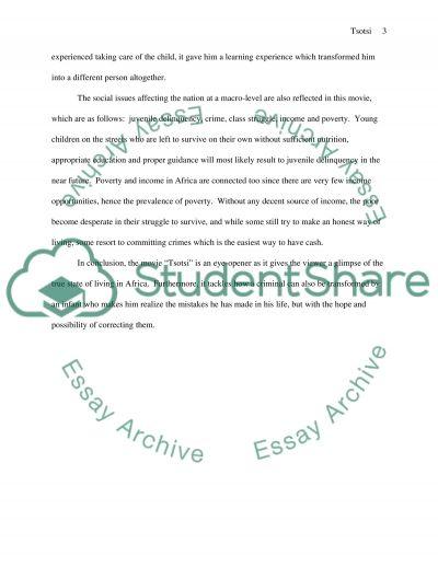 Tsotsi essay example
