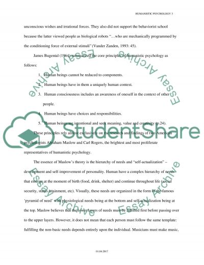 Humanistic School of Psychology essay example