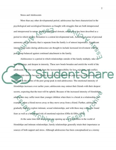 Adolescence a Time of Storm and Stress essay example