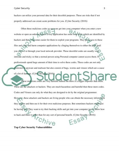 Cyber security essay example