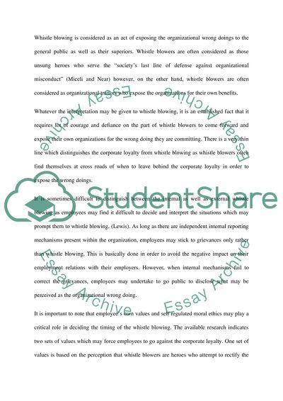 Whistle blowing essays
