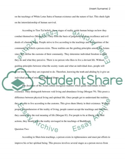 Asian phiolosophy essay example