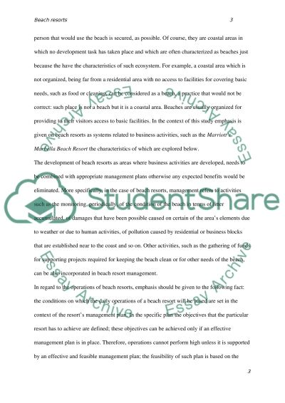 Beach resorts essay example