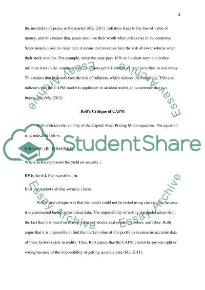 CAPM essay example