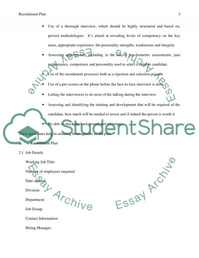 Recruitment Plan essay example