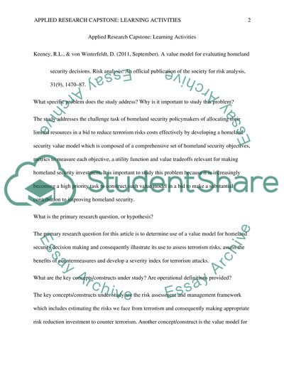 Applied Research Project Capstone: Learning Activities
