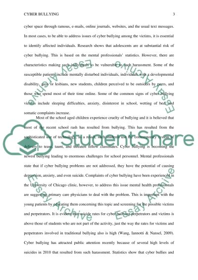 Cyber Bullying Research Paper