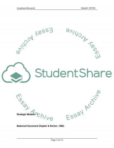 Strategic Models essay example