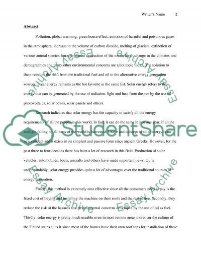 Alternative Energy Sources Solar Energy essay example