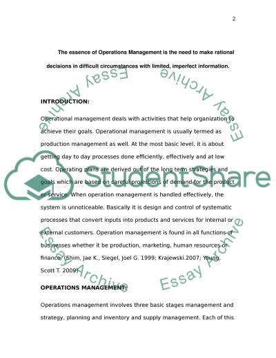 operations management 6 essay Free essays from bartleby | operations management operations management focuses on managing the processes of producing and distributing products and.