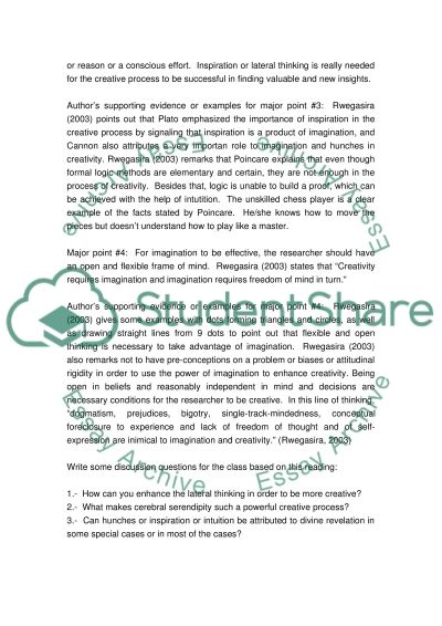 Creativity in Research essay example