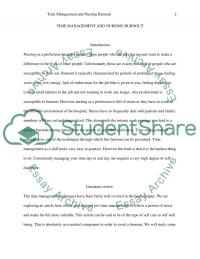 Time Management and Nursing Burnout Essay example