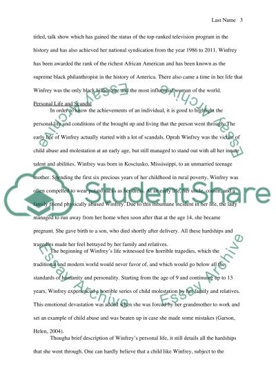 biography of oprah winfrey essay example For example, the oprah winfrey foundations are active in the area of global  a biography of the famous talk show host, oprah winfrey 5  popular essay topics.
