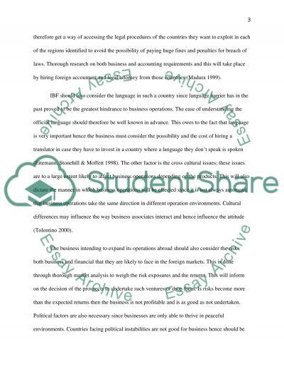 International business finance essay example