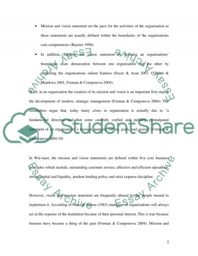 Mission, Vision, and Stakeholders essay example