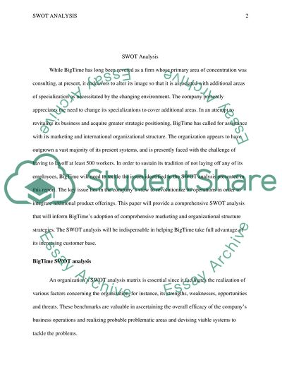 swot analysis essay example  topics and well written essays     extract of sample swot analysis