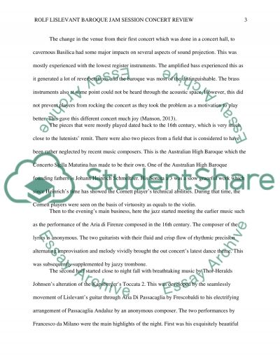 Concert review essay example