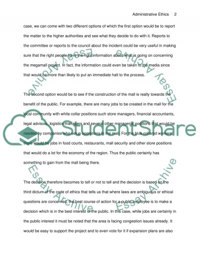 Administrative Ethics essay example