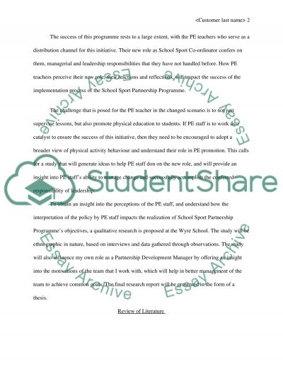 The Wyre School Sport Partnership Programme The Changing Role of the Physical Education Teacher essay example