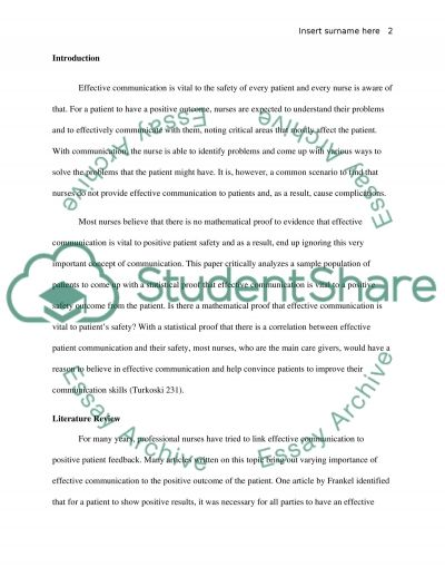 Communication and Patient Safety Research Design essay example