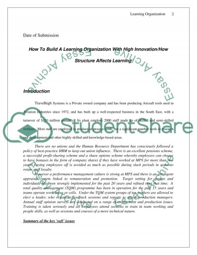 Learning Organization Case Study Case Study example
