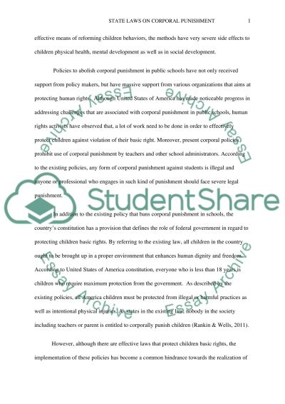 State Laws on Corporal Punishment essay example