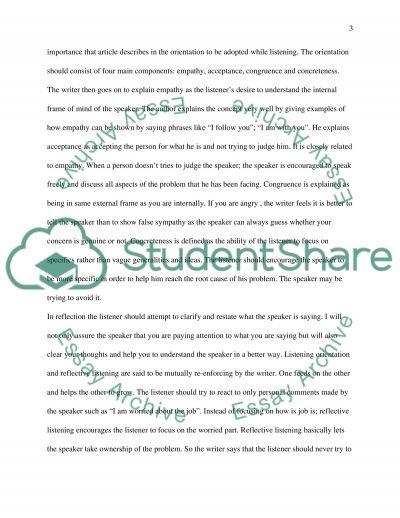 Reflective technique of listening essay example
